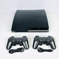 Sony Playstation 3 PS3 Slim 160gb Console Bundle With Two Controllers