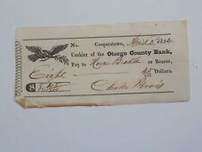 Antique Check 1834 Otsego County Bank Cooperstown New York Paper Money Currency