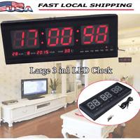 Digital Large Screen Jumbo LED Wall Desk Alarm Clock Calendar Temperature