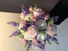 Wedding Posy Bouquet Lilac Lavender & Light Pink , White Roses & White Berries