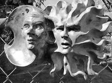 """Handmade Sun & Moon Folk Art Sculpture, 12"""" x 9"""" Original Artwork by Claybraven"""