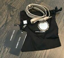 $325 Dolce And Gabbana Belt Bow Box Dust Bag Charm Beige Silver Gold DG