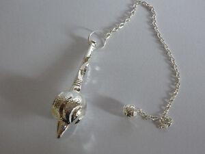 PENDOLINO GRANDE metallo SFERA ARGENTO pendolo egizio rabdomanzia divinazione