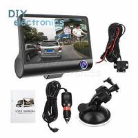 4'' 1080P HD 170° 3 Lens Car DVR Dash Cam G-sensor Rearview Camera US