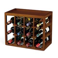 12-bottle cube stack wine rack in walnut stain | storage holder kitchen bar home