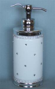 Bella Lux LRG White Ceramic Rhinestones Soap Dispenser Chrome DBL Handle Borders