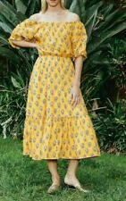 RHODE RESORT Frida Printed Midi Dress Floral Off The Shoulder Yellow S Nw 204909
