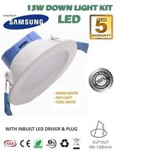 13W SAMSUNG LED DOWNLIGHT KIT NON DIMMABLE SATIN CHROME SILVER WARM WHITE 3000k