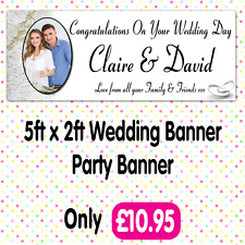 PERSONALISED PHOTO WEDDING PARTY BANNERS ANY AGE, ANY NAME,ANY EVENT A012