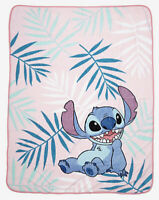 "Disney Lilo And Stitch Pastel Pink Palm Leaves Soft Plush Throw Blanket 46""x60"""
