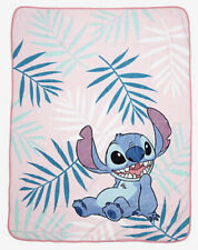 "Disney Lilo And Stitch Pastel Pink Palm Leaves Soft Plush Throw Blanket 46""x60"""