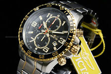 Invicta Specialty 18K Gold Plated Two Tone Black Dial Chrono S.S Bracelet Watch