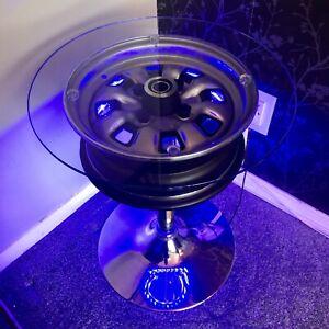 Classic Ford Escort Cortina Capri Custom Upcycled car Wheel Table illuminated
