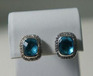 David Yurman 925 Silver 14k Gold BLUE Topaz Diamond Noblesse Earrings & DY Pouch
