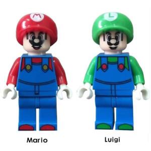 Super Mario Bros Luigi Game Nintendo Switch Building Blocks Mini Figure Toy DIY