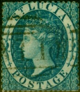 St Lucia 1860 (4d) Blue SG2 Fine Used