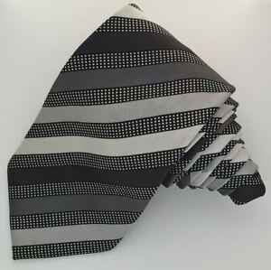 Mens Tie THOMAS NASH Black/Grey Striped Necktie Monochrome