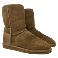 LL Bean Womens Moccasin Boots Wicked Good Shearling Lined Brown US Size 6