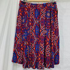 LuLaRoe Women's Madison M Skirt NEW Red Blue Print Pockets Elastic Waist #R