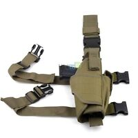 Green Pistol Gun Drop Bag Puttee Leg Thigh Holster Pouch Holder Bag - Right Hand