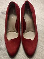NWOB Beautifeel Red Suede Comfort Heels Pumps Size 37 US 7
