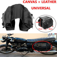 Black Saddlebag Double-strapped Flap Motorcycle Rear Tail Storage Bag Universal