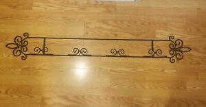 Horizontal 4 Plate Display Holder Wall Hanger 55.3/4 Metal Black (Not Plates)