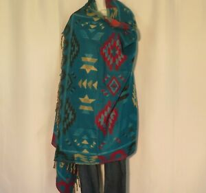 Yak Wool Blend|Shawl/Throw|Handloomed|India|Reversible|Base Colors: Turquoise