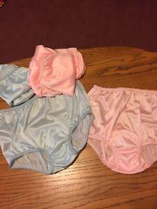 VINTAGE STYLE CUSTOM 6 Pr Pink & Blue Nylon Panties High Domed Mushroom Gusset 6