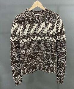 DRIES VAN NOTEN Brown/White Wool Blend Heavy knit Sweater & Neck Warmer Men Sz M