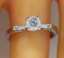 0.53 ct solitaire real diamond wedding engagement ring 18k white gold ring