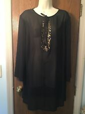 NEW!  New York & Company Semi-Sheer Long Sleeve Tunic Black Polyester Size XL
