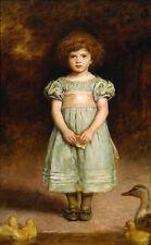 Oil painting John Everett Millais - Lovely and cute little girl & duck Ducklings