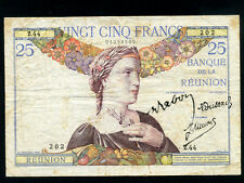 Reunion:P-23,25 Francs,1930-44 * French Rule * Rare *