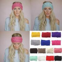 Women Crochet Headband Knit Flower Hairband Ear Warmer Winter Head Wrap Fashion