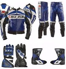 SUZUKI GSXR Leather Suit Motorbike Motorcycle Leather Jacket Pant Gloves Boots