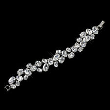 Antique Sliver  CZ Oval Crystals Bridal  Clasp Bracelet, Wedding Jewelry
