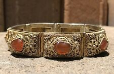 Antique Old Chinese Gilt Gold Silver Filigree Natural Carnelian Wide Bracelet