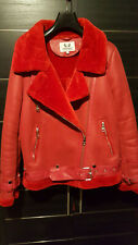 Red Leather Faux Fur Jacket/coat Belted Shearling size 12 (US 42)