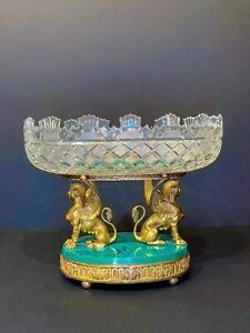 French Gilt Bronze Centerpiece With Gilded Sphinxes Malachite Base Crystal Bowl