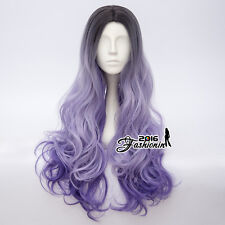 70CM Black Mixed Purple Curly Hair Popular Daily Wigs Lolita Ombre Cosplay Wig