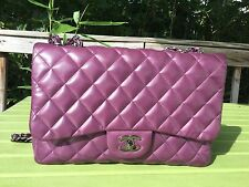 Authentic Chanel Classic Jumbo Purple Lambskin Single Flap Bag SHW