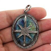 Beautiful Pave Diamond pendant 925 Silver Labradorite Gems Handmade Pendant