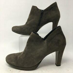 Paul Green Women 10M 7.5 UK Jazzy Ankle Booties Brown Suede Side Zip High Heels