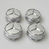 OEM MERCEDES AMG ALLOY WHEEL HUB CENTER CAPS - SILVER 75MM A B C E S ML CLASS