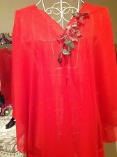 RED CAFTAN KAFTAN  FLORA TRIM LOOSE CASUAL BATWING TOP  BEACH COVER UP ONE SIZE