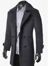 2016 NEW Men's Wool Coat Double-breaste Winter Trench Coat Overcoat Long Jacket