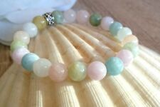Lovely Natural Beryl Peach+Pink Morganite Aquamarine Helidor Goshenite Bracelet