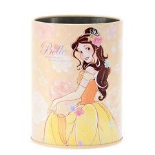 Disney Store Japan Beauty Beast Princess Belle Yellow Rose Pen Holder Stand Tin
