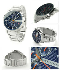 NIB ARMANI EXCHANGE AX2155 Chronograph Blue Dial Stainless Steel Men's Watch